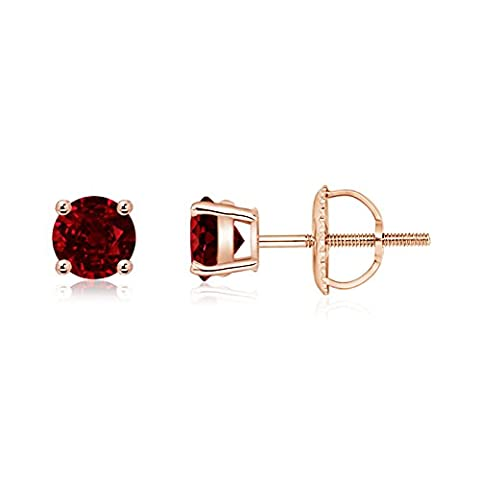 Basket Set Round Genuine Ruby Stud Earrings in 14K Rose
