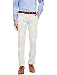HANCOCK Light Green Self Design Checked Stretchable Mid-Rise Slim Fit Chinos-2114lgreen