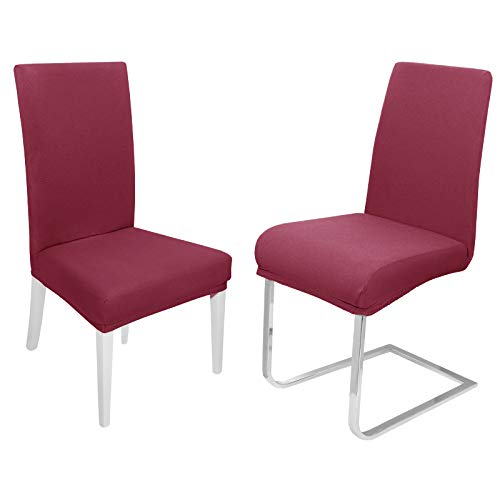DecoHomeTextil Universal Stretch Uni Stuhlhusse Stuhlhussen Husse Hussen 6er Set Weinrot Farbe und Set Größe wählbar Stuhlbezug...