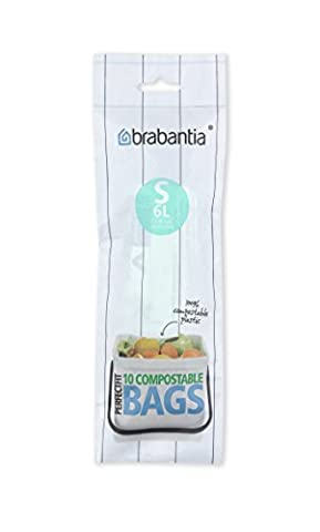 Brabantia sort and Go Compostable Bin Liners, 6 L - Size S, 10 Bags by Brabantia