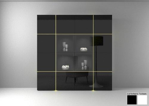 Dreams4Home Wohnwand Wohnzimmerschrank Regal Square Kommode weiß o schwarz hochglanz LED-RGB-Beleuchtung, Beleuchtung:ohne Beleuchtung;Farbe:Schwarz