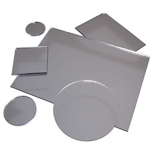 in-outdoorshop Acrylspiegel, Plexiglas®-Spiegel, qualitativ hochwertiger Spiegel, Zuschnitt Scheibe aus 3mm Acrylglas XT Silber, verschiedene Größen und Formen (30cm x 30cm)