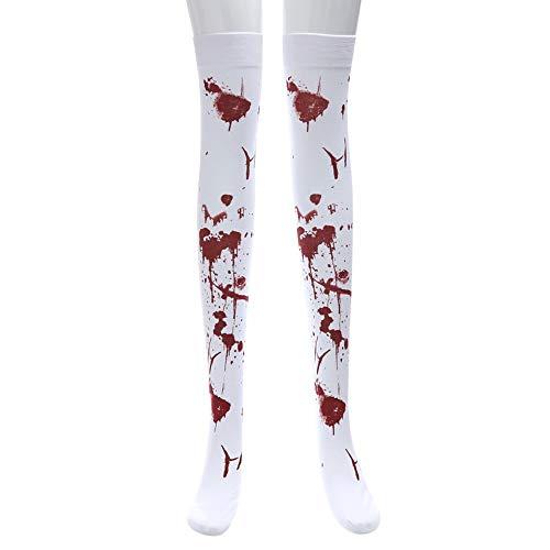 MAYOGO Halloween Deko Damen Strümpfe,Maskerade Gruselig Blut-Handabdruck Blutung Blutig Krankenschwester Socken