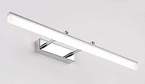 Moderne Metall-basis (WSR Spiegel Scheinwerfer-Simple Modern Style Edelstahl Basis Metall Lampe Körper Acryl Lampenschirm Lampe kann gedreht Werden Stretch LED Spiegel Frontleuchte Badezimmer Wandleuchte,Weißes Licht-60cm)