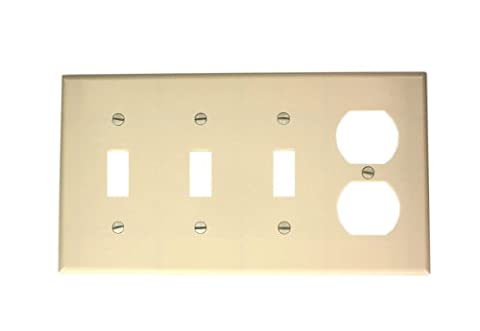 Leviton P38-T 4-Gang 3-Toggle 1-Duplex Device Combination Wallplate, Standard Size,