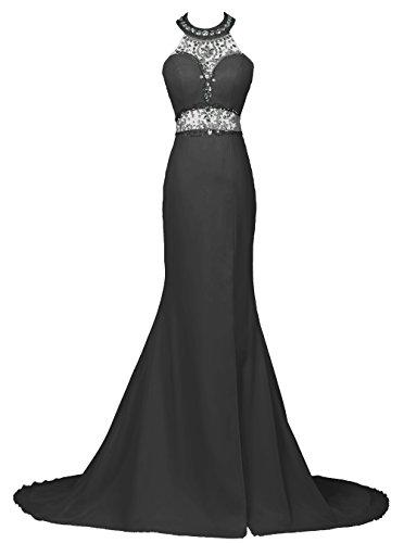 Dresstells, Robe de soirée Robe de cérémonie forme sirène emperlée dos nu traîne mi-longue Noir