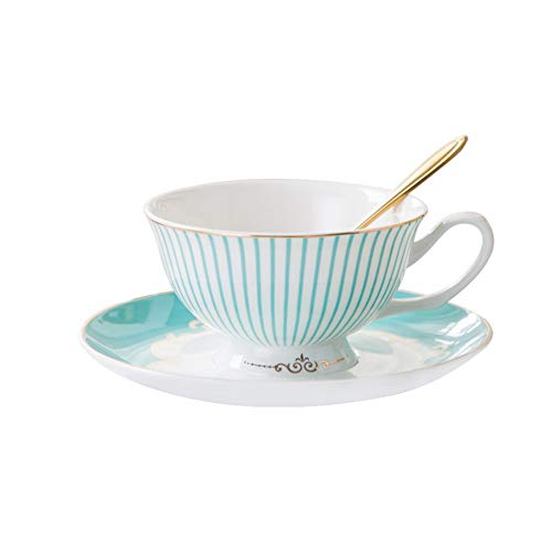 BHUIJN Tasse, Stilvolle Blau Gestreifte Bone China Kaffeetasse Und Untertasse, Ideales Geschenk Für Hochzeit Valentinstag Freunde (Blau China Tasse Und Untertasse)