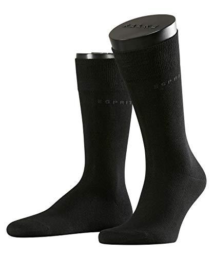 ESPRIT Herren Socken Basic Uni 2-Pack, 80% Baumwolle, 2 Paar, Schwarz (Black 3000), Größe: 39-42