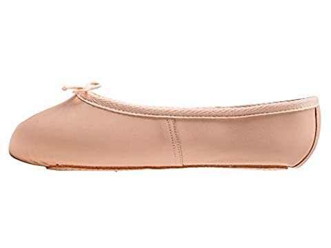 Girls Ladies Pink Leather WIDE FIT full sole Ballet Dance Shoes By Katz Dancewear (Childs Size UK
