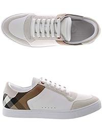6e37ca464d966 Burberry Sneakers Scarpe Uomo in Pelle e Tessuto Modello 4054022 Bianco +  Check