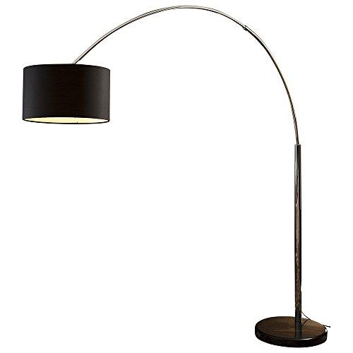 SalesFever Steh-Lampe dimmbar schwarz mit Standfuß aus Marmor 210x180 cm | Iluma | Steh-Leuchte groß mit Lampenschirm aus Textil | Bogen-Lampe für Wohnzimmer 210cm x 180cm