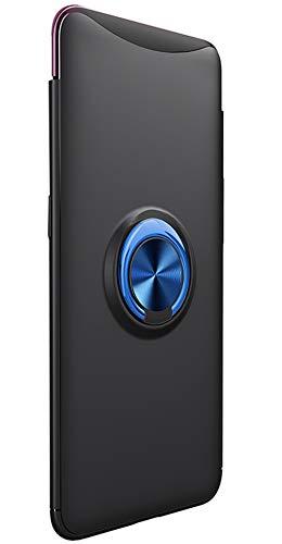 Tianqin Oppo Find X Hülle, Ultra Slim Leicht Weich TPU Stoßfest Hardcase Magnetische Ring Schnalle Kompatibel Mit Magnetic Car Mount für Oppo Find X (Schwarz Blau)