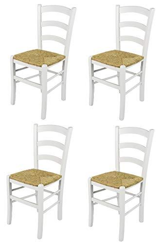 Tommychairs - Set 4 chaises Venezia pour la Cuisine, Bar et la Salle à Manger, Structure en Bois Coleur laqué Blanc et Assise en Paille