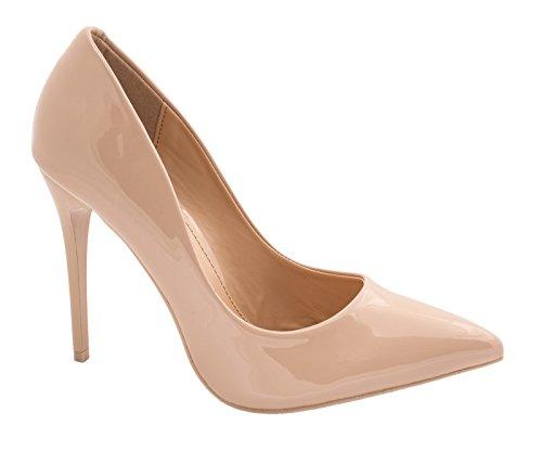 Elara Spitze Damen Pumps | Bequeme Lack Stilettos | Elegante High Heels Größe 37, Farbe Nude