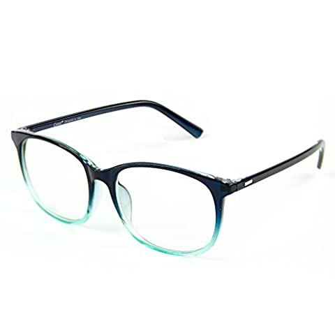 Cyxus Blue Light Filter [Transparent Lens] Glasses, Anti Eyestrain Block UV Computer Reading Glasses (Gradient Bluish Green Frame)