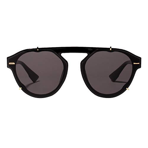 REALIKE Damen Sonnenbrillen Klassische Gold Rund Farben Verspiegelt Vintage Brille Glänzend Verbundrahmen Frauen Verspiegelt Sunglasses Travel Eyewear