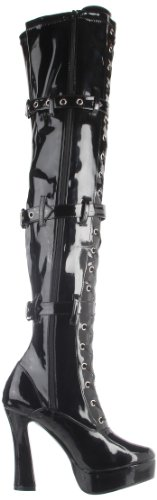 Pleaser Electra-3028, Damen Over-knee Stiefel Schwarz (blk Str Pat)