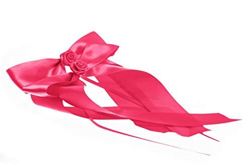 FlexiStore 10 Antennenschleifen mit Rose Deko Schleifen Hochzeit Auto - ASR-Pink - Pink Satin Ball