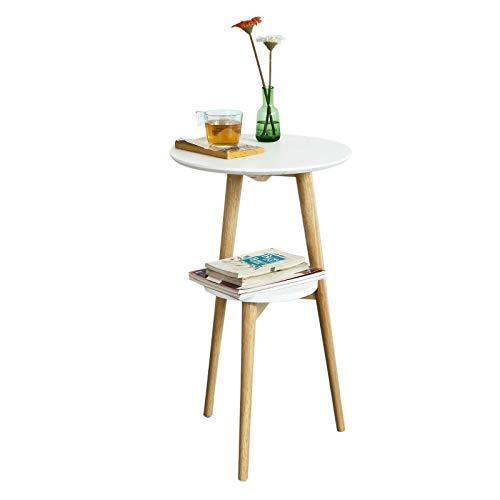 SoBuy Mesa de café con Dos estantes, Mesa de Cocina, Mesa Redonda, Mesa de Comedor, FBT39-W, ES