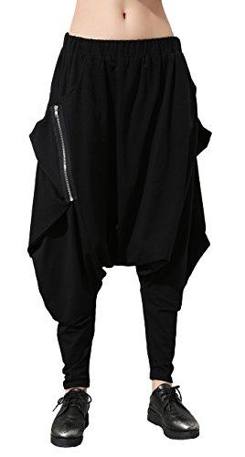 ELLAZHU Damen Einmalig Design Taschen Schwarz Harem Hippie Hip-hop Hose GY1054 (Hosen Harem Schwarz)