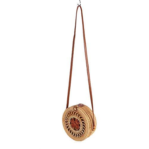 Blaward Rattan Umhängetasche Handgewebte runde Handtasche Damen Strohbeutel Runde Handtasche Kreis Handgewebte Strand Taschen
