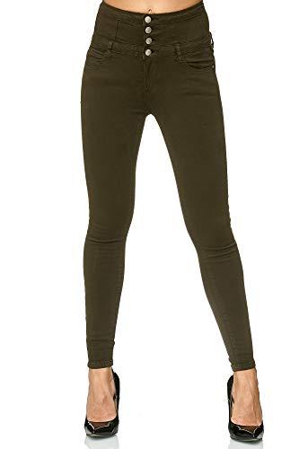 Elara Damen Stretch Hose | High Waist Jeans| Skinny | hoher Bund | Slim Fit | Chunkyrayan H601-2 Green 42
