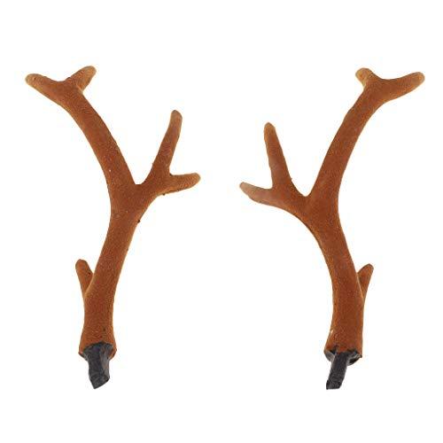 P Prettyia 1 Paar Hirsch Ornamente, Hörner Künstliche Hirsche Kostüm Haar Stirnband Kopfband DIY Zubehör