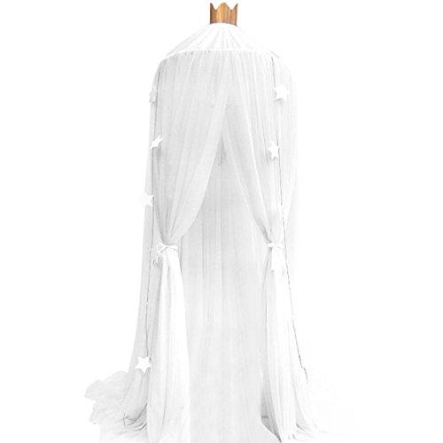 Preisvergleich Produktbild Souarts Betthimmel Baldachin Dekohimmel für Kinder Zimmerm, Fliegennetz Mückenschutz für Kinderbetten chic Vorhang 240cm (Weiß)