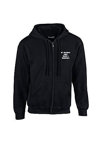 Myn Guardian Angel Wears A Trenchcoat, Kids Full Zip Hoodie - Black/White 5-6 years