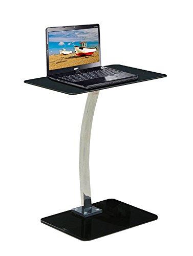 Premier - Supporto / tavolino d'appoggio per computer portatile in metallo e vetro, colore: Nero