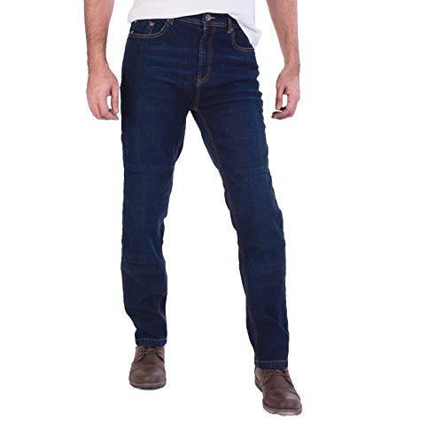 Force Riders Herren-Motorrad-Jeans, Denim, Mit schützendem para-aramid-Futter Gr. 48, dunkelblau