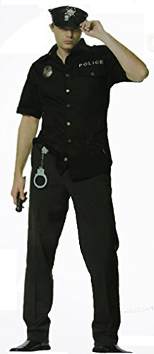 Polizei Kostüm mit Hut, Abzeichen und Polizei (Abzeichen Kostüm Sheriff)