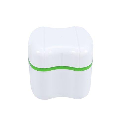 ROSENICE Caja del baño de la dentadura Caja del recipiente de almacenamiento de los dientes falsos con la cesta de enjuague (verde)