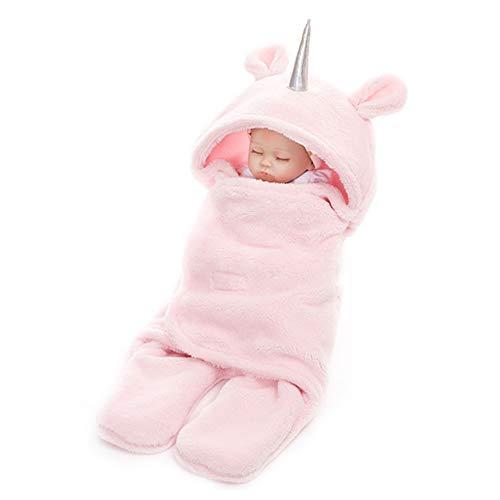 Abrigo del bebé recién nacido Manta espesado cordero terciopelo unicornio Swaddle chal suave invierno del lecho del bebé manta de recepción Saco de dormir anti-Kick edredón rosa
