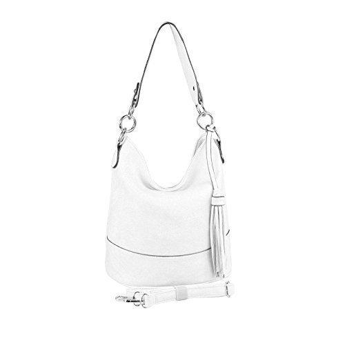 OBC DAMEN TASCHE HOBO-BAG Metallic Shopper Umhängetasche Handtasche Schultertasche Henkeltasche Beuteltasche CrossOver Tote-Bag (Weiß 29x25x17)