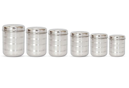 Jagani Steels Stainless Steel Storage Container Silver Finish,Unbreakable Canister  Set Of 6 Pcs