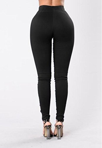 YiLianDa Donna Alto Vita Lace-Up Elastico Bendare Matita Slimfit Pantaloni Nero