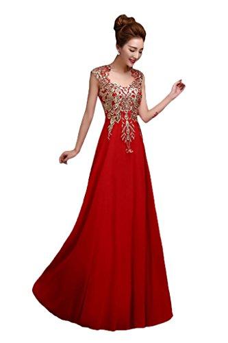 Prom Style Modisch Chiffon Royalblau Etui Applikation Abendkleider Ballkleider Cocktaikleider Partykleider Rot