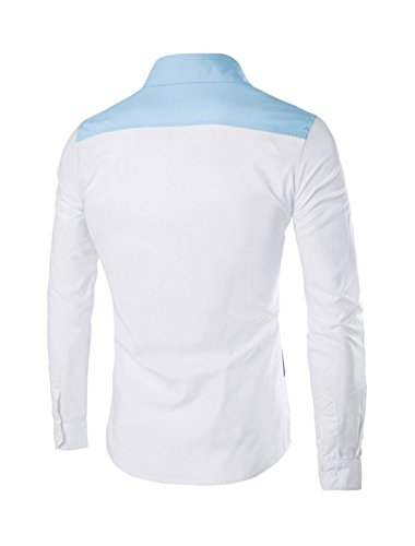 sourcingmap Man Col chemise caché Patte de boutonnage Couleur De Contraste Chemise Coupe Cintrée Bleu