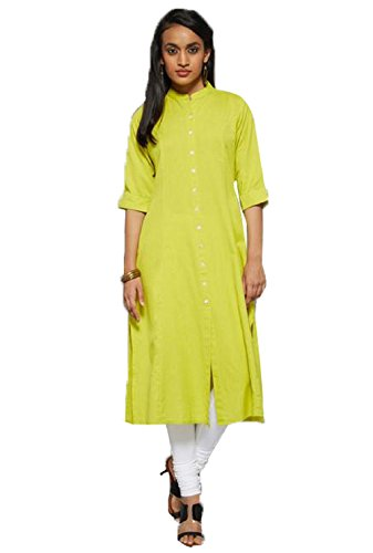 Kurti (Leriya Fashion Women\'s Cotton 3/4 Sleeve Long Yellow Color Women Kurti)