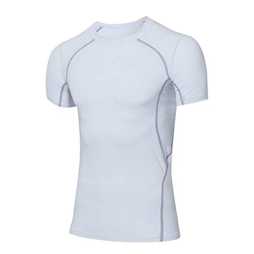 Moresave Strato manica corta Compression Base uomo sotto la maglietta della pelle Top (3 4 Camice Lunghezza)