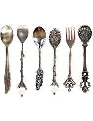 Löffel und Gabel Fingertips123 Kaffee-Dessert-Löffel, Vintage-Stil, Royal Stil, Metall, geschnitzt, 6 Stück Berry Spoon