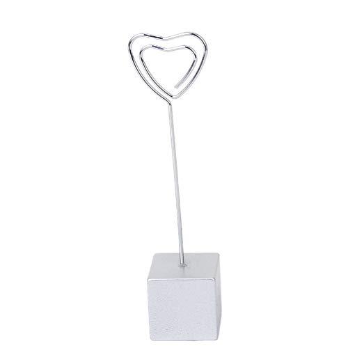 Platz Metallhaltig Memo-Foto-Halter Herz-Form-Karte Bild Memo Foto Clip-Halter Cube Basisdraht Clip Silber (Buffet-basis)