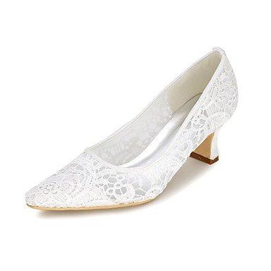Rtry Femmes Chaussures Pompe De Mariage Base Net Spring Summer Party Mariage & Amp; Soirée Applique Chunky Talon Ivoire Rougissant Rose Blanc Noir2a-2 Us9 / Eu40 / Uk7 / Cn41