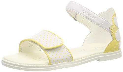 Geox J Sandal Karly Girl F, Punta Aperta Bambina, (White/Yellow C0592), 32 EU