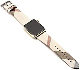 Memore® Leather with Stainless Metal Classic Buckle Band, Apple Watch Strap, Apple Watch Band, Replacement Wrist Band, Bracelet Band for Apple Watch, iWatch, Series 1, Series 2, Series 3 & Nike Sport Series (42mm, Burberry Cream) (BR-4)