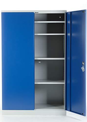 Schrank und Stuhl Ballschrank Sportgeräteschrank Hallenschrank 195 x 120 x 60 (HxBxT) - KOMPLETT MONTIERT (Enzianblau (RAL 5010)) - Aktenschränke Montiert Komplett