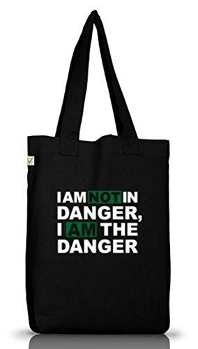 Shirtstreet24, Non Sono In Pericolo, Jutebeutel Stoff Tasche Terra Positivo Nero