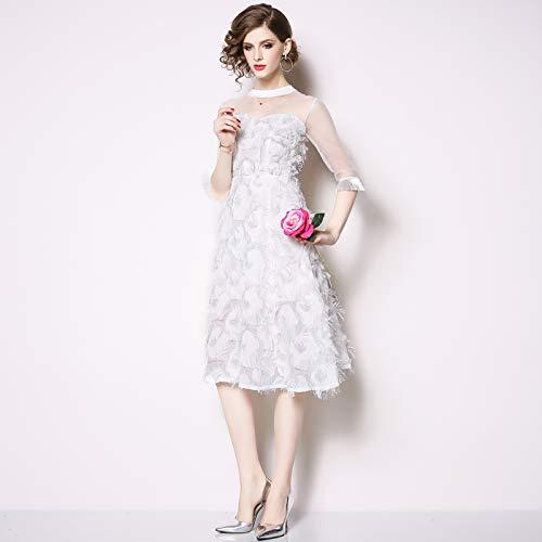 QUNLIANYI Kleider Lang Tüll Quaste Kleid A-Linie Feder Applikation Mesh Kleid Prinzessin Party Ball Kleid Lässige Kleider L -