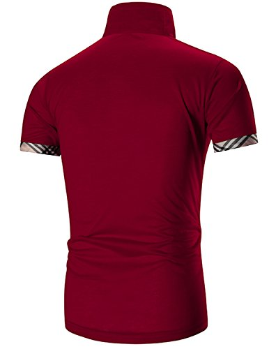 Boom Fashion Herren Poloshirt Kurzarm Slim-Fit kontrast Polohemd T-shirt Rot